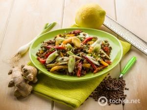 Салат «Райский» из чечевицы с овощами