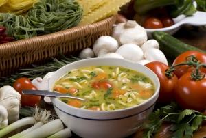 Томатный суп с грибами и говядиной