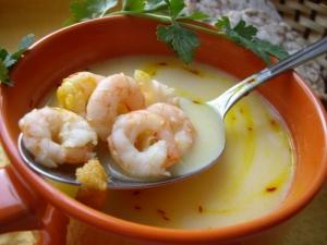 Сливочный суп с вешенками и креветками