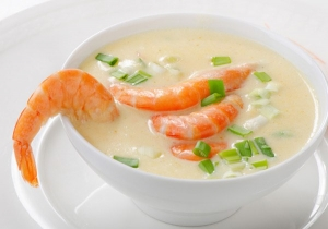 Сырный суп с креветками из плавленного сыра и данаблю
