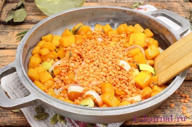 Суп-пюре из тыквы и чечевицы