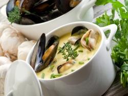 Сливочный суп из мидий