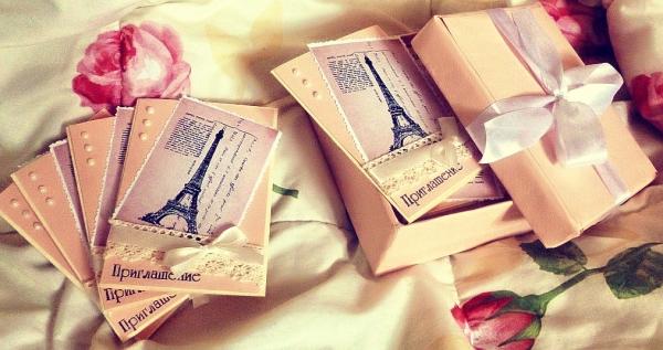 пригласительные для свадьбы в стиле париж