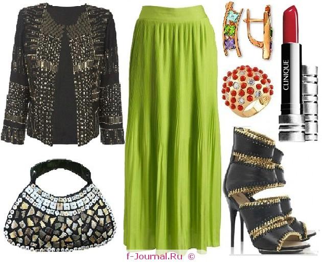 С чем носить зеленую юбку – макси