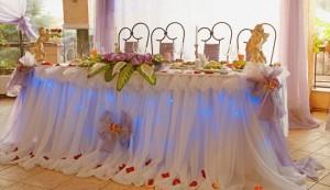 украшение свадебного стола молодоженов