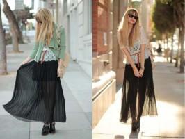 С чем носить плиссированную юбку макси
