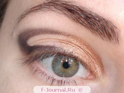 макияж глаз в золотисто-фиолетовой гамме