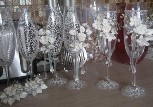 свадебные бокалы своими руками фото