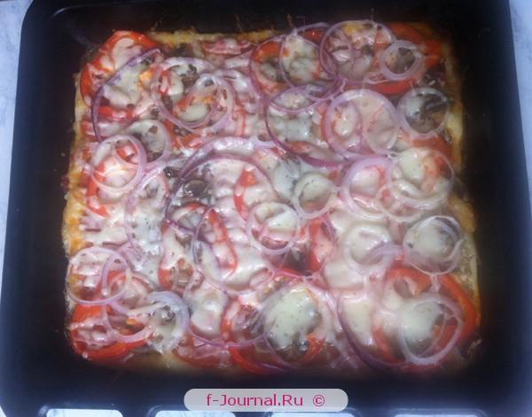 Пицца с ветчиной и грибами - фото рецепт
